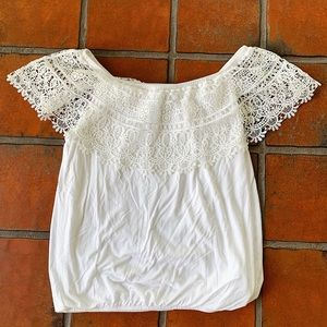 I.N. Studio - White Off-Shoulder Top with Lace